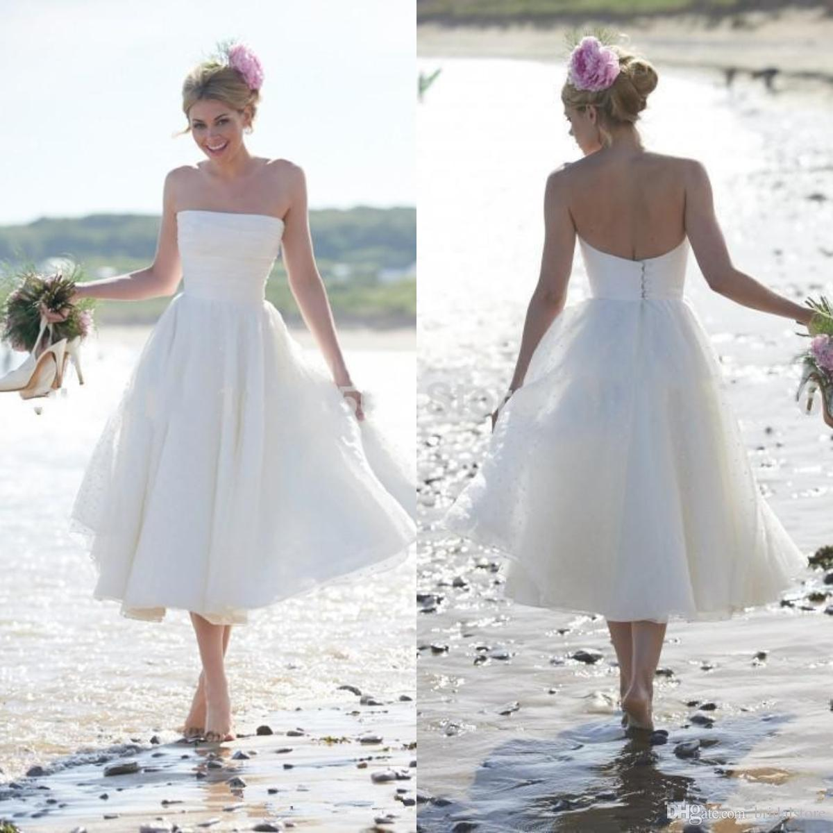 Discount White Cheap Best Short Beach Wedding Dresses A Line Plus Size  Strapless Tea Length Bridal Gowns Simple Boho Summer Holiday Wedding Guest  Lace ...