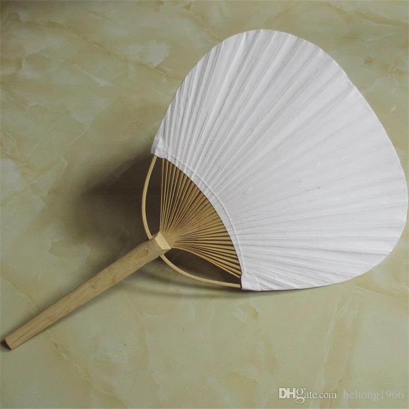 Ventilador de papel de gran número redondo dos ventiladores en blanco con marco de bambú y manija de pintura de caligrafía regalos de la fiesta de bodas 3qx ff
