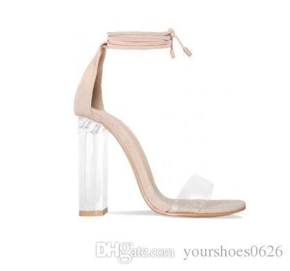 Pink Nude Faux Suede High Heels Women Sandals Transparent PVC Ankle Strap Women Pumps Lace-Up Clear Block Heels Shoes