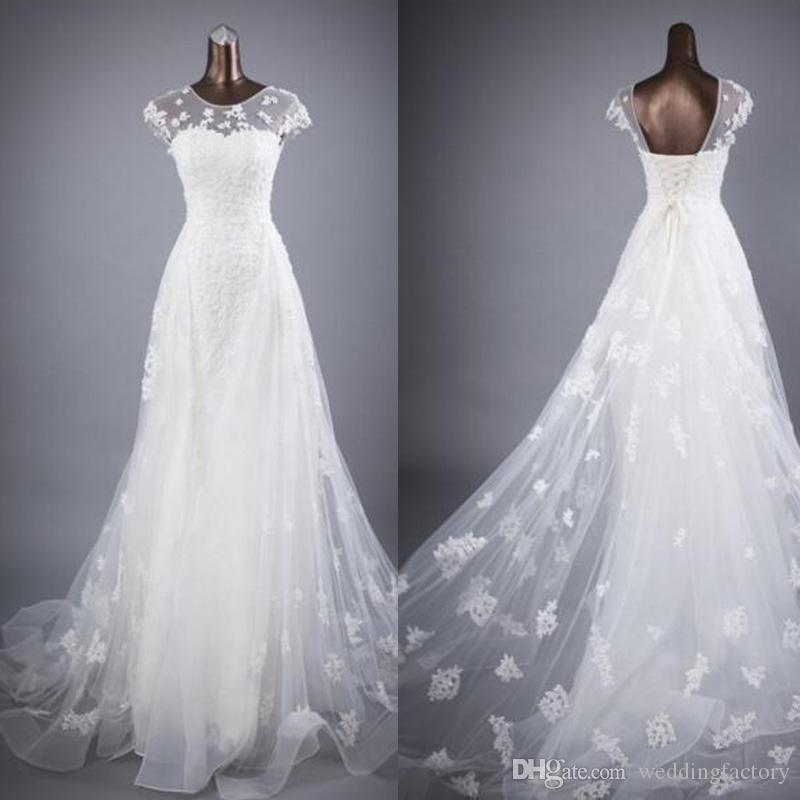 Vintage Corset Bröllopsklänningar En linje Sheer Jewel Neck Capped Short Sleeves Öppna Back Lace-Up Gorgeous Lace Appliques Brudklänning