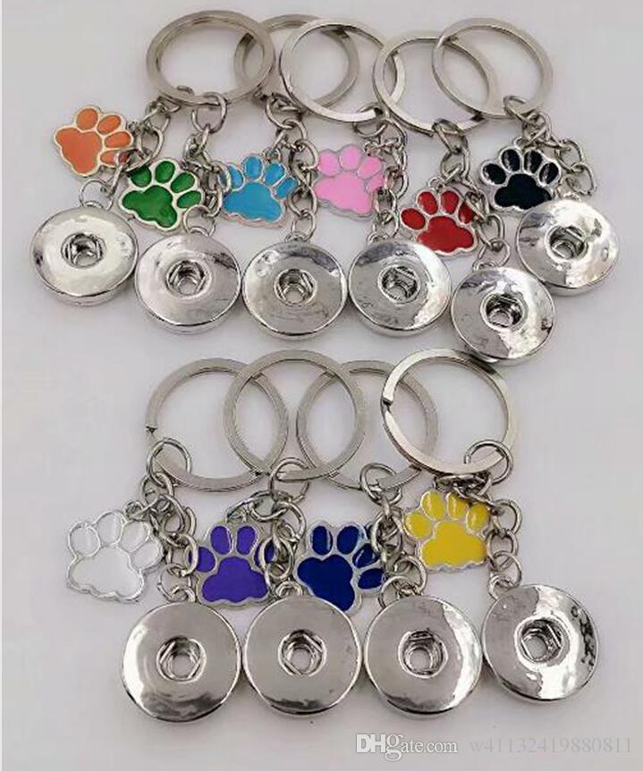 HOT smalto cane gatto zampa stampe 18 millimetri snaps pulsante portachiavi fascino catena chiave per chiavi auto portachiavi souvenir coppia borsa catena chiave-43