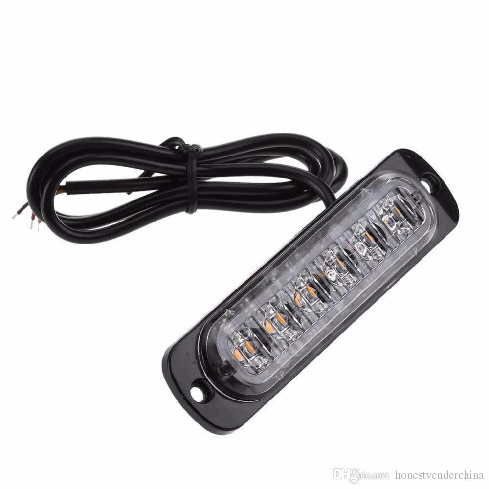 1 개 12-24V 6 LED 슬림 플래시 라이트 바 자동차 자동차 자동차 트럭 오토바이에 대한 스트로브 램프 경고 다이오드 긴급 빛 발광