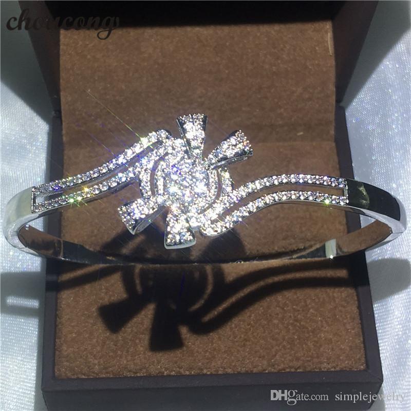 Choucong Kelebek Tasarım bilezik Köpüklü Elmas S925 Gümüş kadınlar için Dolgulu Düğün bileklik Moda accessaries