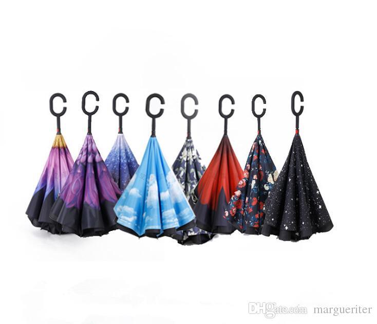 Folding Reverse Umbrella Double Layer Inverted Windproof Rain Car Umbrellas Self Stand Rain Protection C-Hook Hands