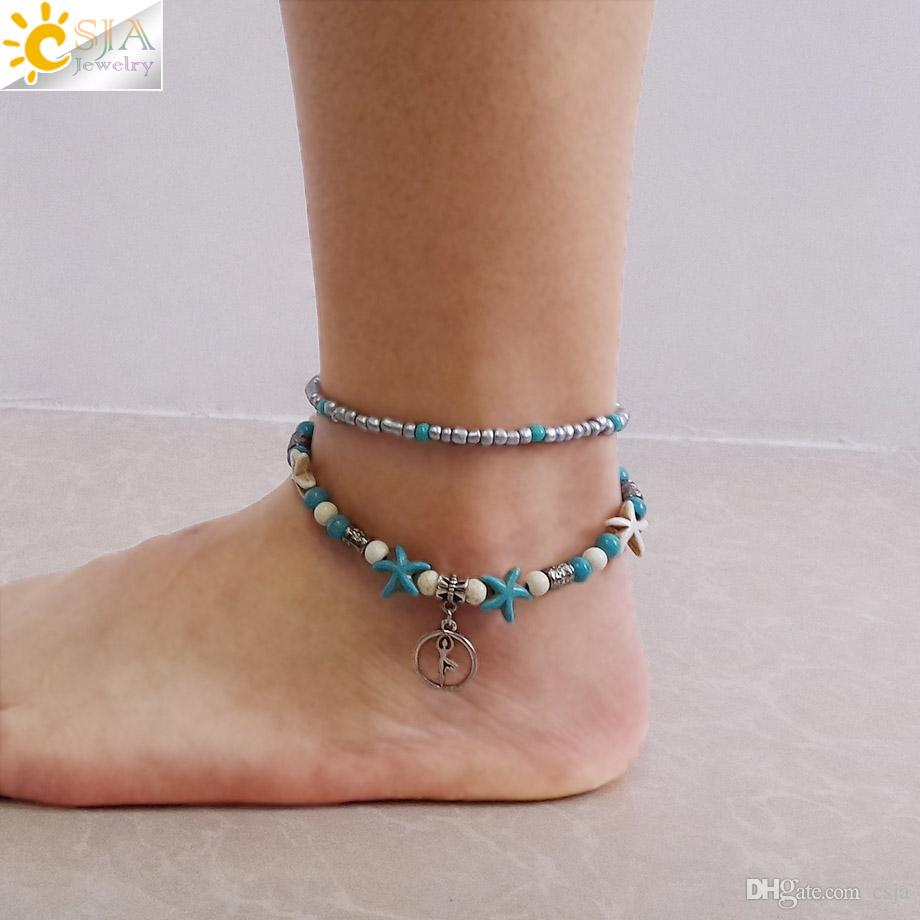 CSJA Foot Jewelry for Women 2 Layers Ankle Bracelets Yoga Symbol Anklet with Starfish Silver Charms Beaded Beach Jewellery Girlfriend F676