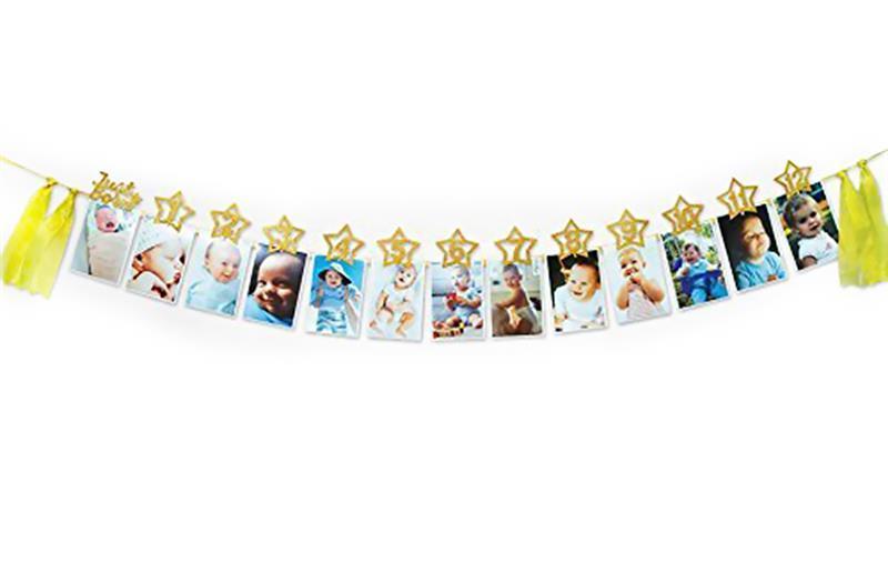 Vente en gros Photo Bannière Décorative Suspension Bannière Fête Bannière Avec Clips Photo Pour Bébé Premier Anniversaire