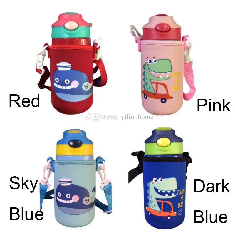 어린이 진공 컵 절연 이중 벽 304 스테인레스 스틸 머그컵 만화 빨 대 컵 컵 슬리브와 어린이 학생