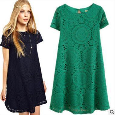 2018 여름 여자 드레스 대형 느슨한 짧은 소매 중공 레이스베이스 스커트 플러스 의류 4xl 캐주얼 기본 스타일