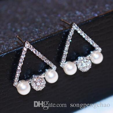 여성 패션 쥬얼리 한국어 진주 귀걸이 18K 골드 / 실버 도금 스터드 귀걸이 높은 품질에 대한 크리스탈 삼각형 귀걸이의 전체