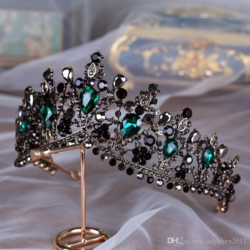 Handgefertigte Luxus Barock Brautkrone Tiara Schwarz Dunkelgrün Kristall Kopfbedeckungen Abend Haarschmuck für Bräute Gothic Braut