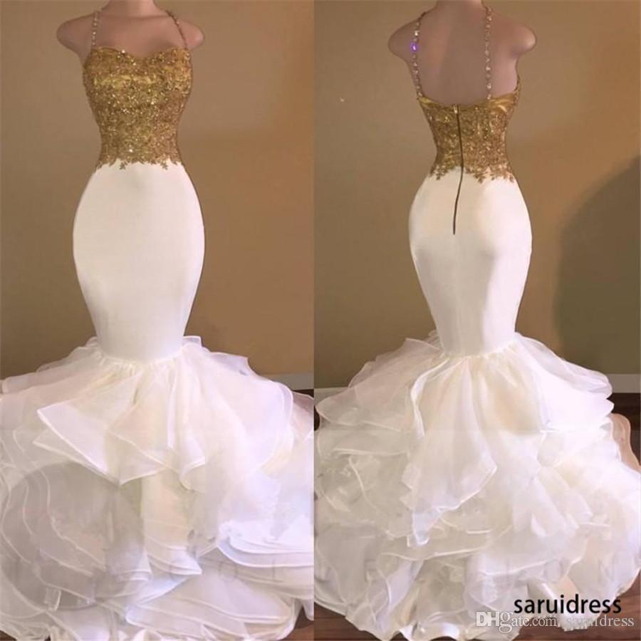 Sexy GoldenWhite Sereia Vestidos de Prom Spaghetti Strap Appliques Lace Ruffles Tiered Party Vestido Moda Backless Africano Prom Vestido