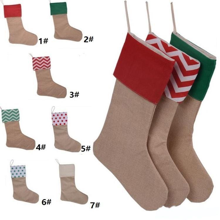 Calcetín de navidad bolsas de regalo de Navidad media 12 * 18 pulgadas Nueva lona de alta calidad de Navidad calcetines decorativos bolsas TC181114