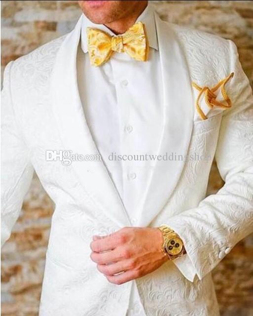Ultimo design un pulsante bianco scialle di paisley risvolto smoking da sposa sposo uomini partito groomsmen abiti (giacca + pantaloni + cravatta) K32