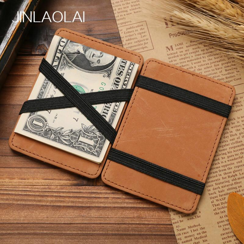 JINBAOLAI 2018 New Arrival PU Leather Magic Wallet Retro Magic Flip High Quality Men Money Clip MSB003