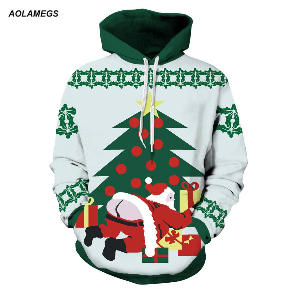 Aolamegs Hombres Mujeres Serie Chirstmas Sudaderas con capucha Parejas Sudaderas con capucha Divertidos 3D impresión Pullovers Navidad Casual Tops Ropa