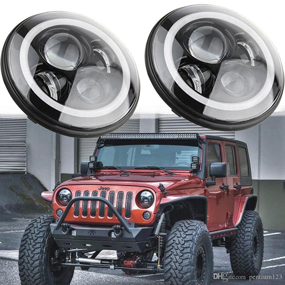 2xFor Lada Niva 7inch Led Headlight Hi/Low Beam Light Halo Angle Eyes DRL Headlamp For Jeep Wrangler Off Road 4x4 suzuki samurai 4.8
