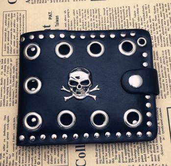 Men Gothic Skull Cross Genuine Leather Biker Punk Wallet Purse Chain UK Local