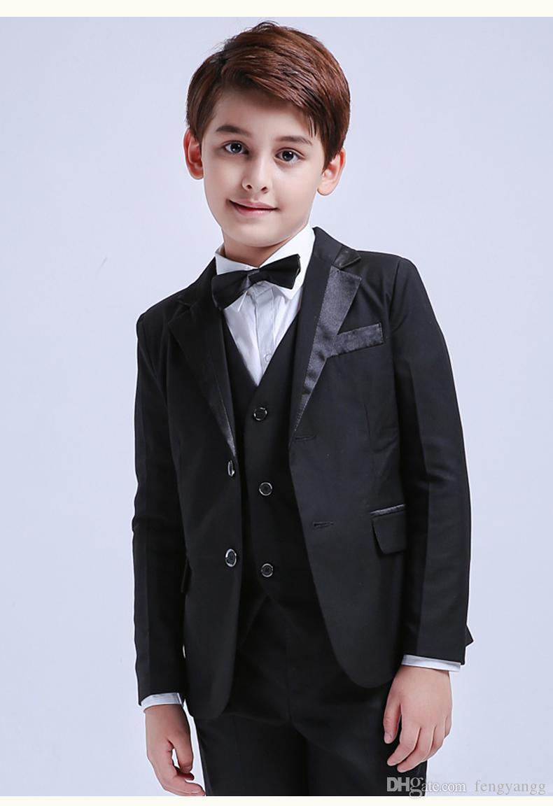 جديد مخصص بوي البدلات الرسمية الشق التلبيب ملابس الأطفال الرسمي ل حفل زفاف 5 قطع (سترة + سروال + القوس + سترة + كليب على الحمالات)