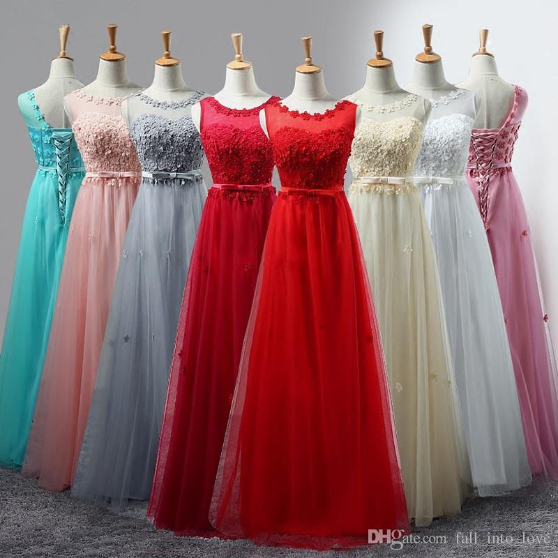 Ucuz Stokta A-line Scoop Gelinlik Modelleri Kat Uzunluk Vestidos Düğün Parti Kat Uzunluk Elbiseler Için Elbiseler