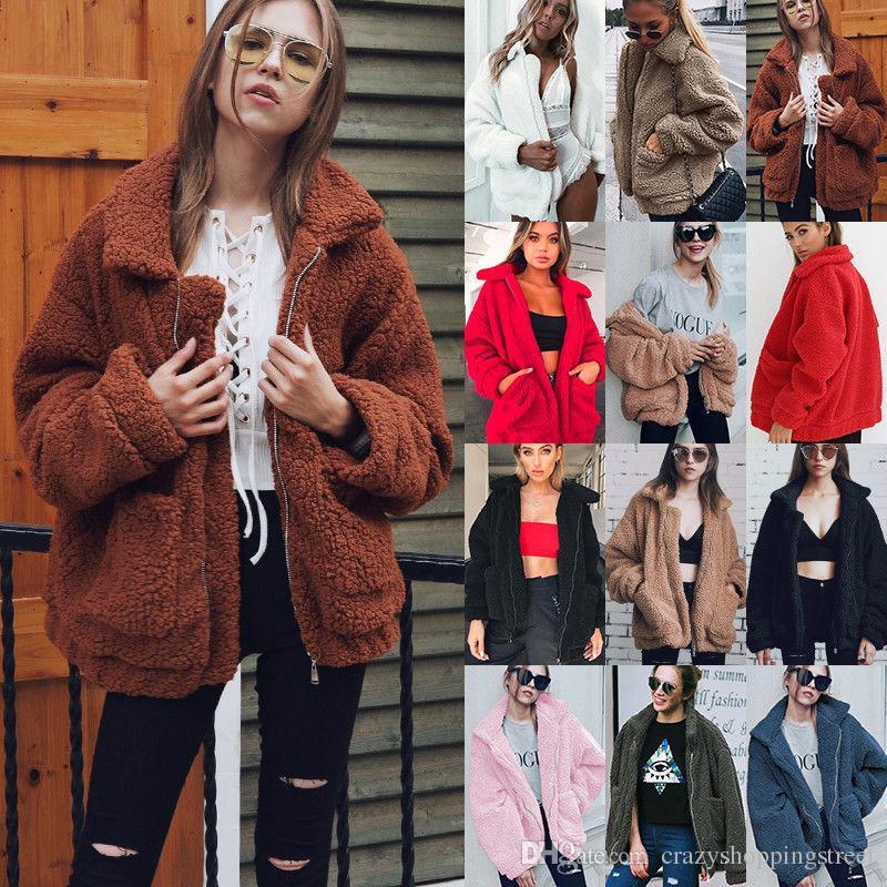 Automne Hiver élégant manteau en fausse fourrure Casual manches longues poche zippée Veste polaire femme Tops Mode manteau Teddy