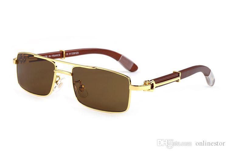 2020 chifre de búfalo óculos sem aro Mens Fashion Desportivo Buffalo vidros brancos Blalck chifre de búfalo Madeira Óculos de sol dos homens de madeira Sun Glasses