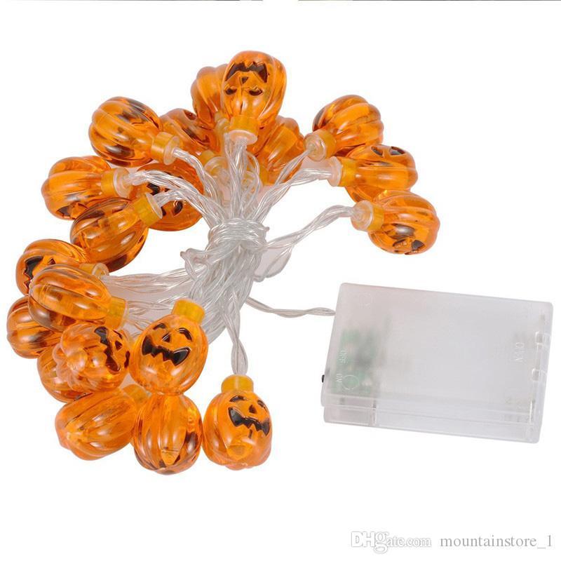 Raffreddare 10 LED Decorazioni di Halloween Zucche / Fantasmi / Ragno / Teschio LED String Lights Lanterne Lampada Fai da te Home Bar Forniture per feste all'aperto