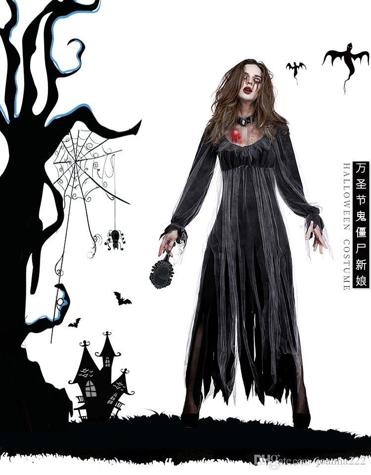 2018 sıcak satış Cadılar Bayramı yeni seksi korku hayalet gelin zombi kostüm bar parti sahne vampir iblis kostümleri boyunbağı + giysi iki parça