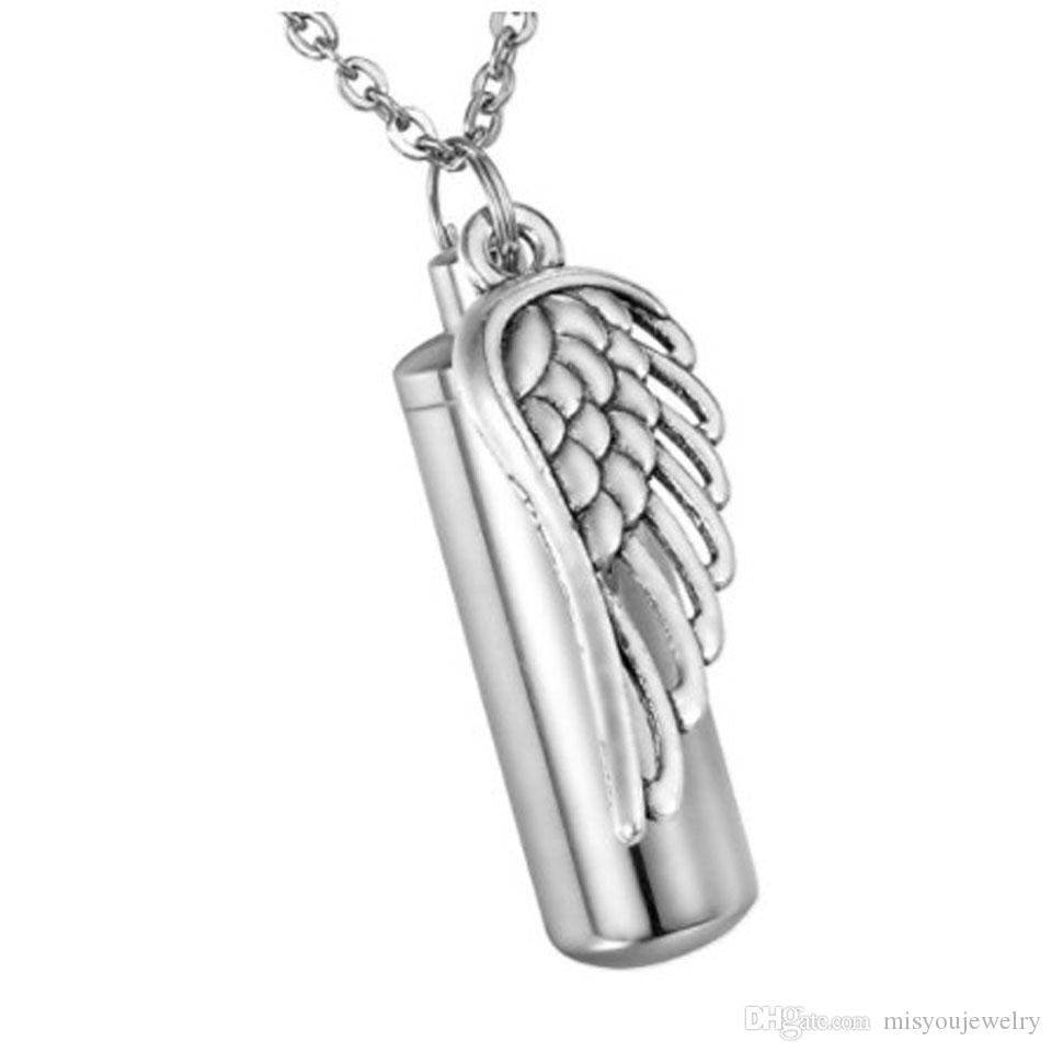 Fashion Jewelry Pendant Stainless Steel Angel winggs Cylinder Pendant Cremation Urn Keychain Memorial Keepsake Ashes Jewelry