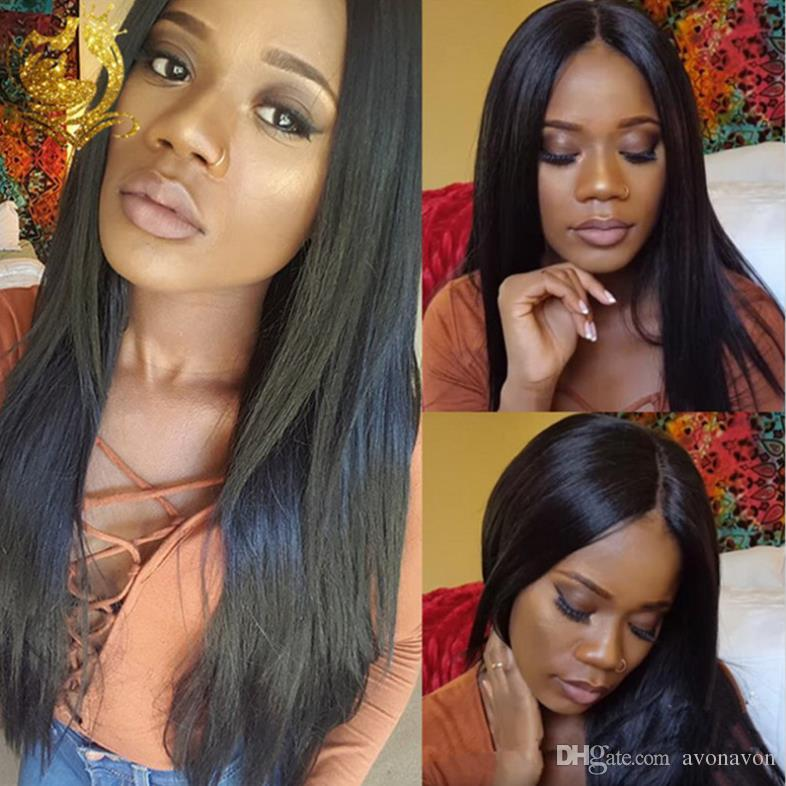 Heavy Density Long Italian Yaki wigs Kinky Straight Synthetic Lace Front / Full Lace Wig Heat Resistant Fiber For Black Women FZP82