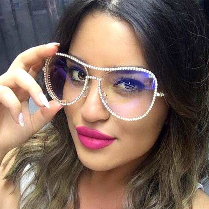 Gafas de sol de lujo de cristal mujeres diseñador de la marca Piloto gafas de sol claras gafas de color rosa señoras Rhinestone ShadesChopas transparentes