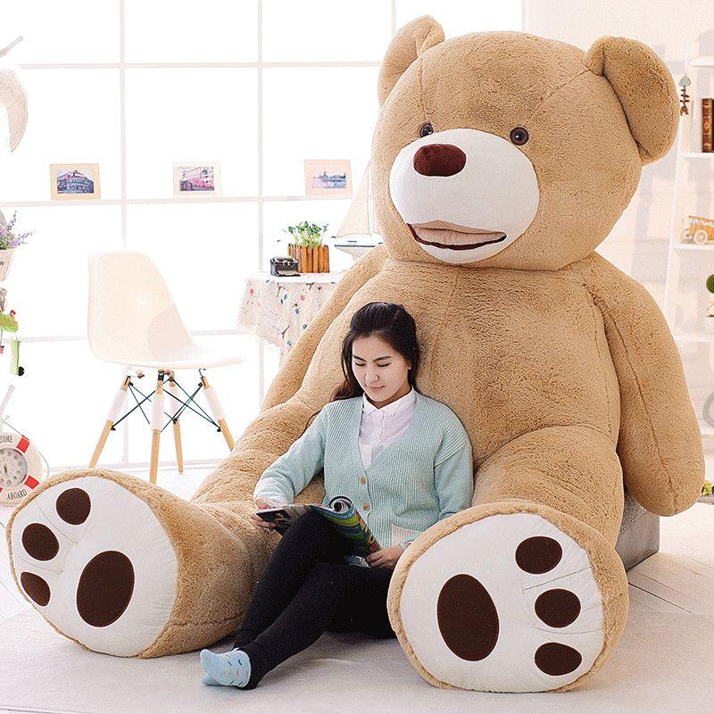 100 cm a 200 cm de la piel del oso de peluche gigante estadounidense oso gigante de la piel, la capa de peluche, buena calidad Factary Precio Peluches para niñas