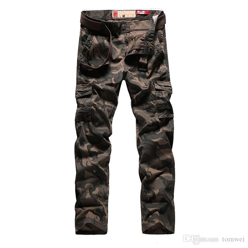 Erkek Çok Cep Pantolon Kargo Pantolon Kamuflaj Düz Şişman Pantolon Büyük Boy 32 34 36 38 2018 Yüksek Kalite