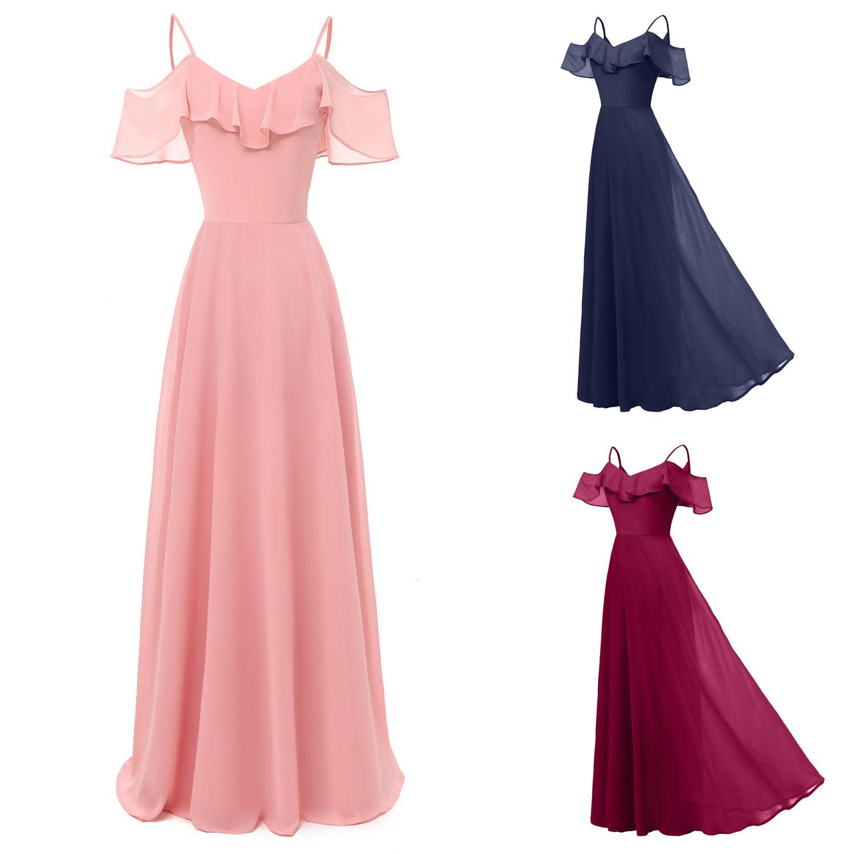 Kadınlar Şifon Maxi Elbise Fırfır Spagetti Sapanlar Kapalı Omuz Uzun Akşam Parti Gelinlik Giydirme