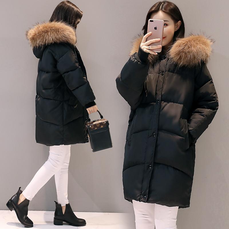 2018 Nueva Moda Con Capucha Larga Cuello de Piel Mujeres Chaquetas y Abrigos de Invierno Algodón Acolchado Largo Parkas Señoras Ropa de nieve S18101501