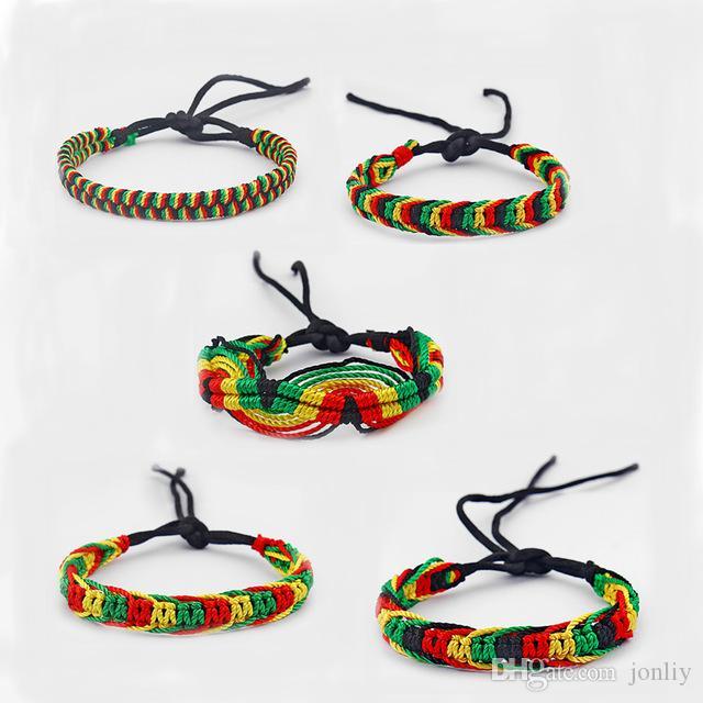 5 SZTUK Mieszane Rasta Bransoletka Przyjaźni Opaska Bawełniana Jedwab Reggae Jamajka Surfer Boho Fine Jewelry