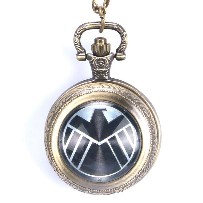 Capitão filme extensão escudo Design pingente de relógio de bolso de quartzo com colar de corrente para homens mulheres