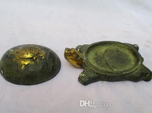 Rare Chinese Old Bronze Carved Gold gilt the turtle Ink stone / Antique Metal Pen wash calligraphy tool