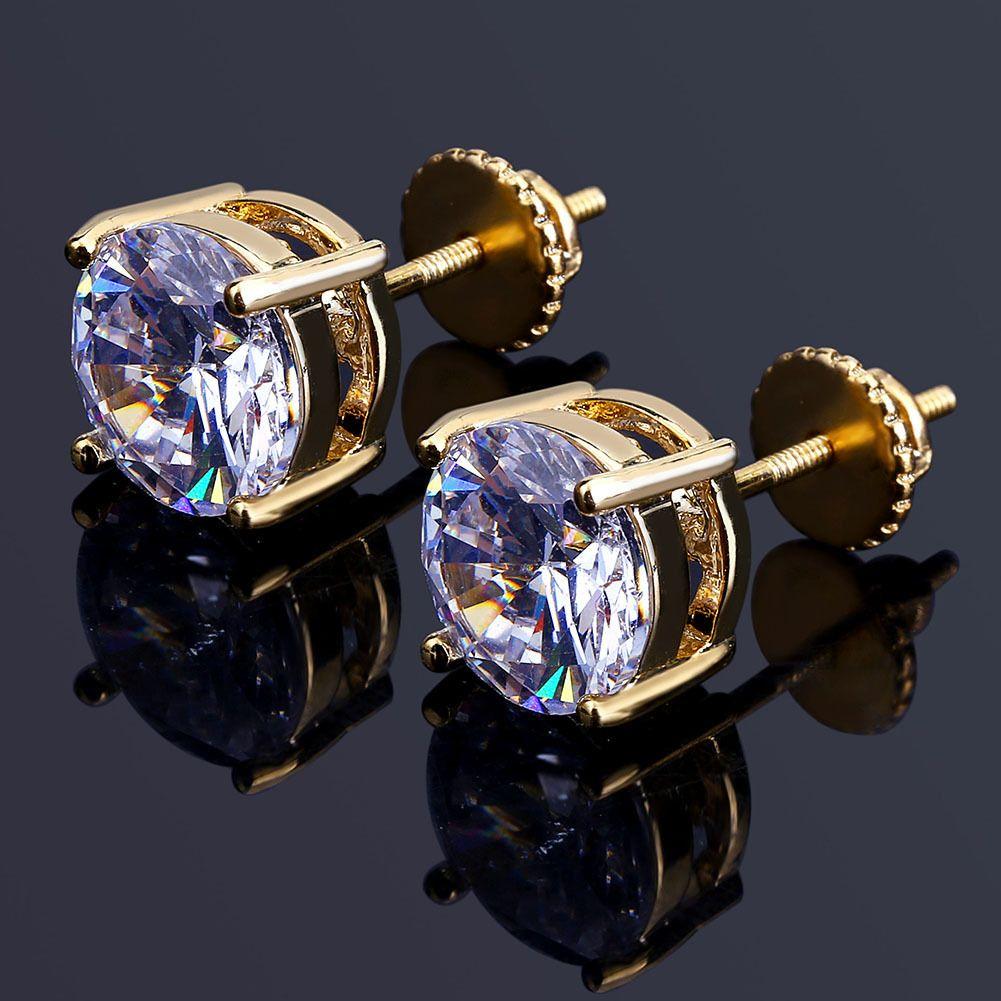 Stud Earrings Hip Hop 18K Gold Plated Miniature Round Zirconia Thread Studs 8mm Universal Earrings Hop Sale