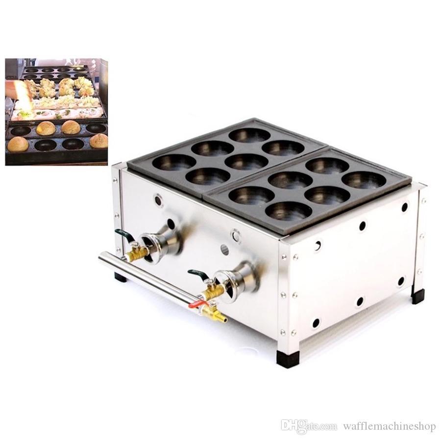 Ticari Çift Plaka Takoyaki Izgara Pan Japon Gaz Bakudanyaki Maker Büyük Takoyaki Makinesi Makinesi Snack Ekipmanları NP-613