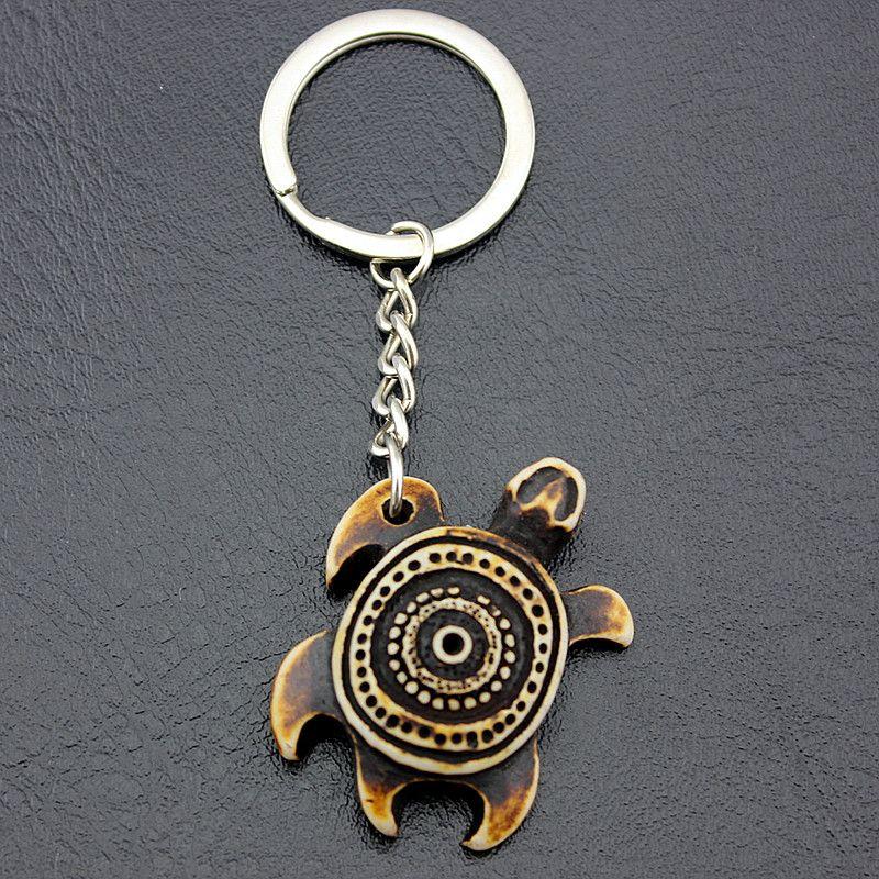 Takı Whoelsale 12 ADET Yeni Gelenler Taklit Yak Kemik Deniz kaplumbağaları Erkekler kadın Takı için Anahtarlıklar Sevimli kaplumbağa Anahtarlıklar Araba Anahtarı Yüzükler