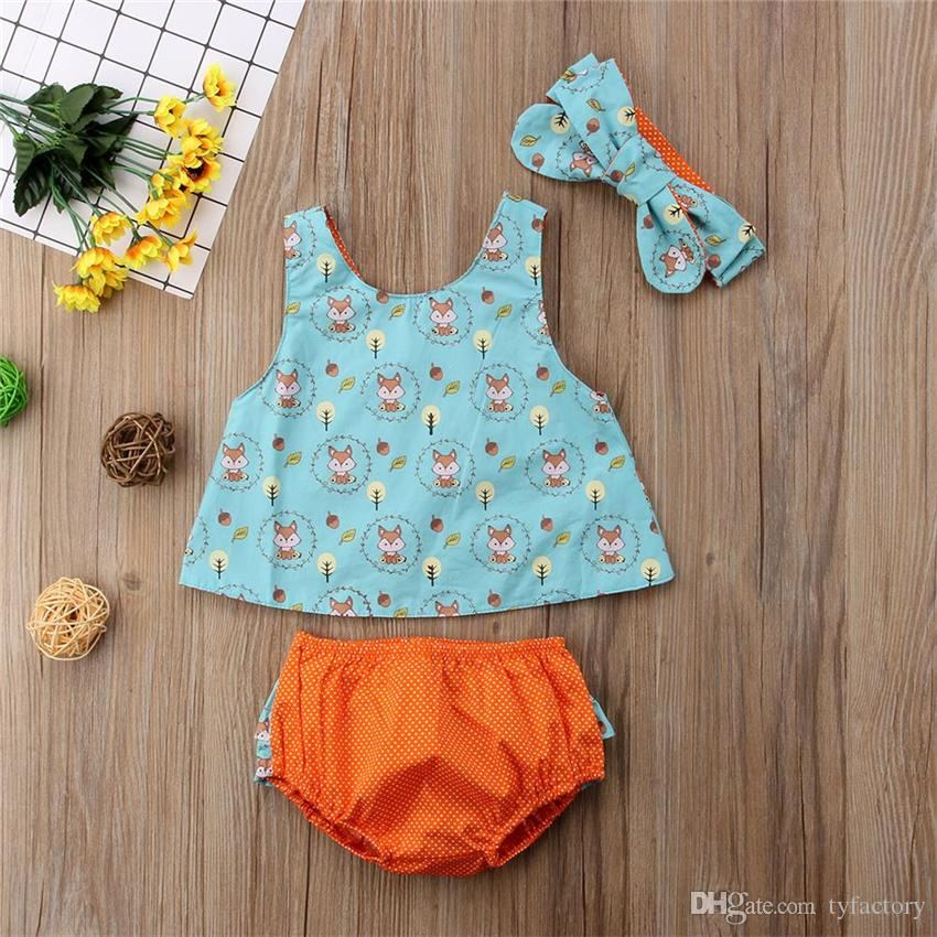 Lovely baby girls clothes cartoon fox Top+shorts+headband 3pcs set outfits baby girls clothing toddler summer boutique wholesale factory
