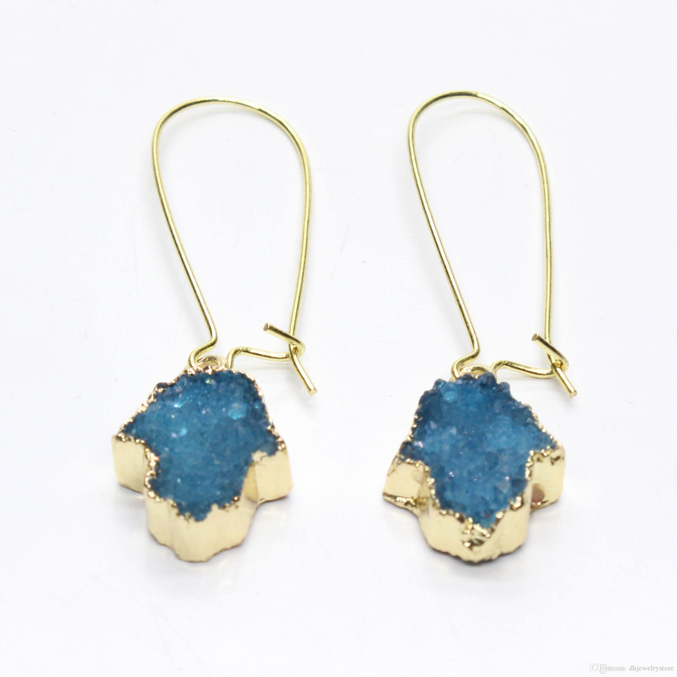 Wholesale 10 Pairs Gold Plated Irregular Shape Crystal Dyed Lake Blue Green Hamsa Hand of Fatima Earrings Purple Jewelry