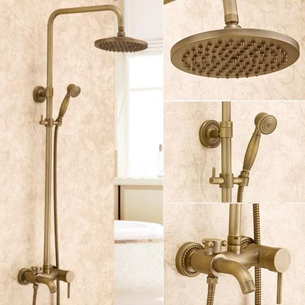 2018 Antique Shower Set Retro Brass Show Brass Chrome Rotatable Type Water  Saving Controller Round Shower Faucet Set Wall Mounted From Happpyzone, ...