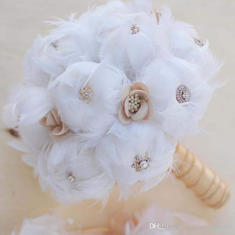 2018 High End Custom Diy Bridal Bouquet With White Sapphire Feather Wedding Bouquet Birthday Flowers Delivery Cheapest Flowers From Golden Phoenix