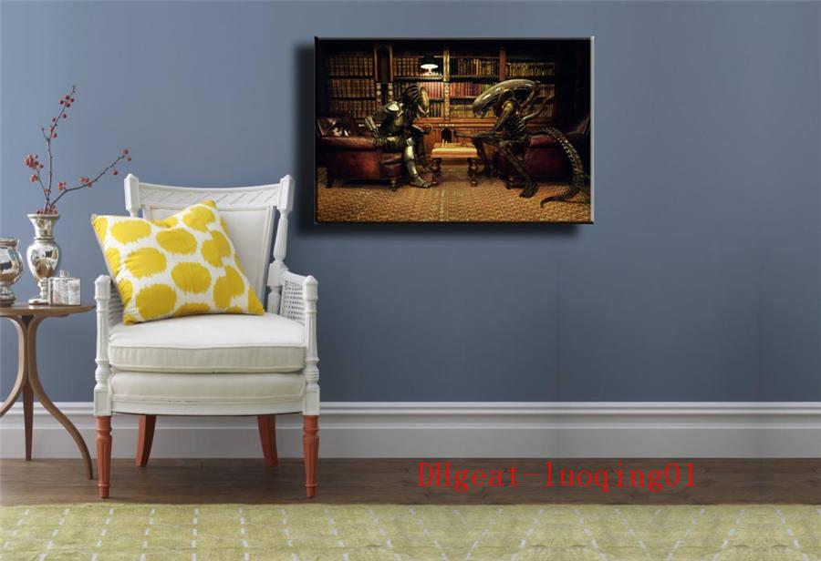 Alien Vs Predator 3 Play Chess , Canvas Pieces Home Decor HD Printed Modern Art Painting on Canvas (Unframed/Framed)