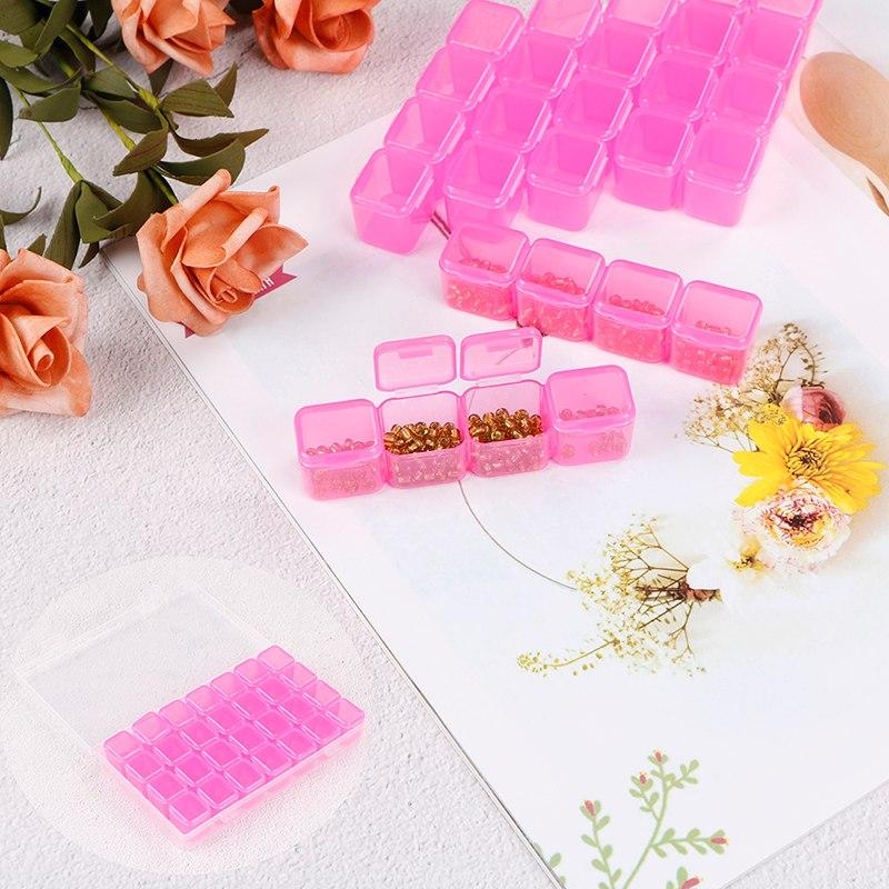 28 Slots Plastic Empty Storage Box Pink Beads Display Storage Box Case Organizer Holder Nail Art Rhinestone Tools