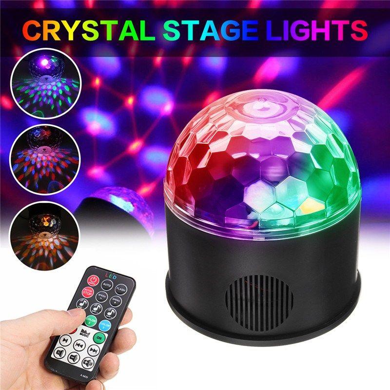 Remote LED Crystal Magic Ball Stage Light Rotation Speaker Colorful KTV DJ Disco Gift Bluetooth Music Control Lights