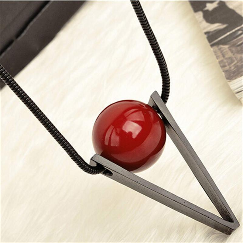 Collar largo de las mujeres de moda Steampunk Red Ball triángulo Maxi collares colgantes joyería