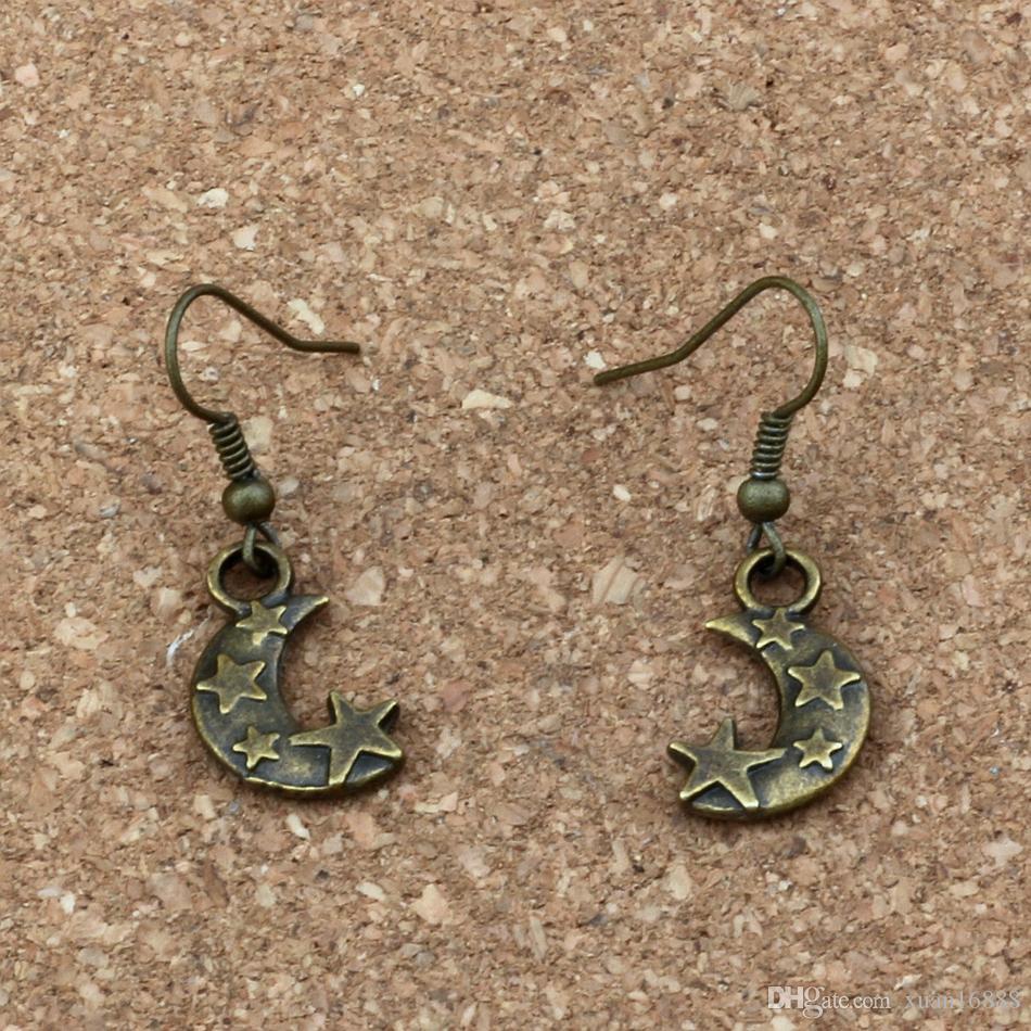 Луна звезды Шарм серьги рыбы уха крюк 24пары/лот античная бронзовая люстра ювелирные изделия 11x36mm A-331e