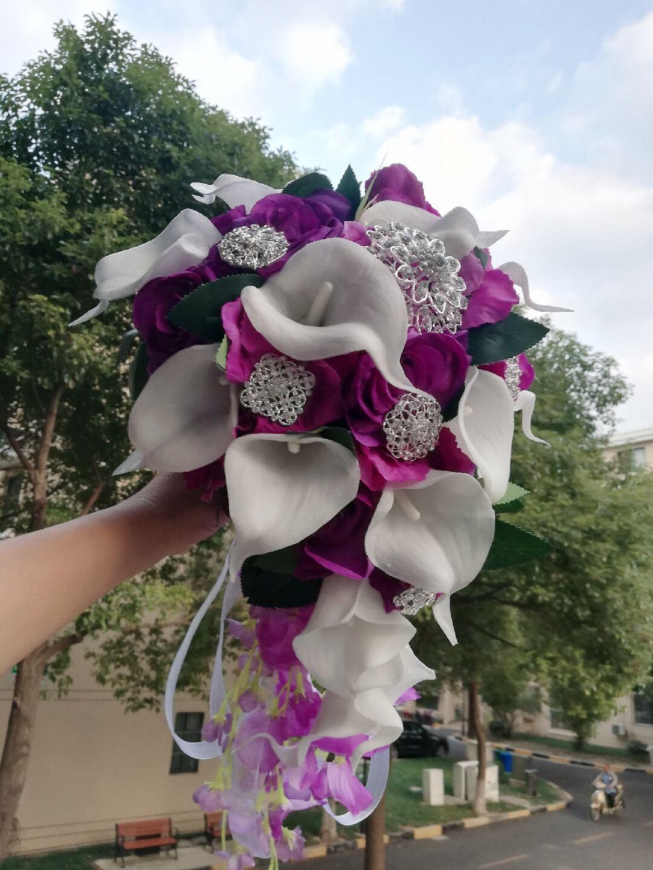 2018 Waterfall Purple Wedding Flowers White Calla Lilies Bridal